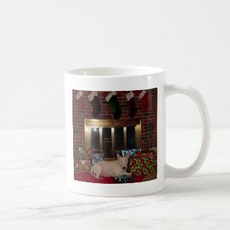english bull terrier christmas present fireplace coffee mug
