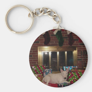 english bull terrier christmas present fireplace keychain