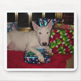 english bull terrier christmas present fireplace mouse pad