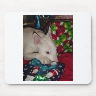 english bull terrier christmas present mouse pads