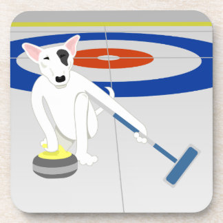 English Bull Terrier Curling Beverage Coaster