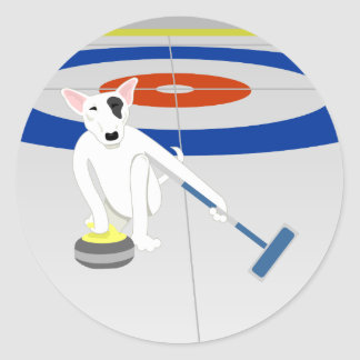 English Bull Terrier Curling Classic Round Sticker