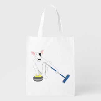 English Bull Terrier Curling Grocery Bags