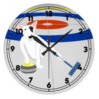 English Bull Terrier Curling Large Clock