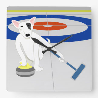 English Bull Terrier Curling Square Wall Clock