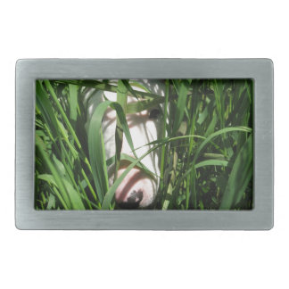 English Bull Terrier Hiding in the Grass Belt Buckle