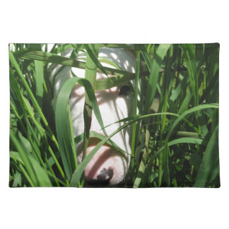 English Bull Terrier Hiding in the Grass Cloth Placemat