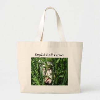 English Bull Terrier Hiding in the Grass Large Tote Bag