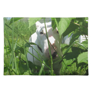 English Bull Terrier Peeking Through the Leaves Cloth Placemat