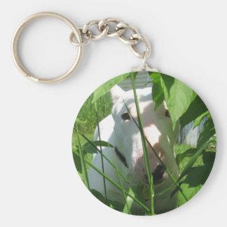 English Bull Terrier Peeking Through the Leaves Keychain