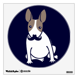 English Bull Terrier Puppy Dog with Moustache Wall Sticker