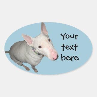 English Bull Terrier Sitting Pretty Oval Sticker