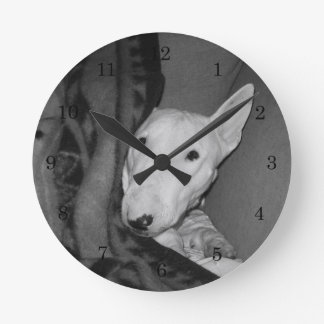 English Bull Terrier Snuggled Under a Blanket -BW Round Clock