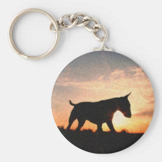 English Bull Terrier & Sunset, Oil Paint Style Keychain