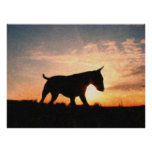 English Bull Terrier & Sunset, Oil Paint Style Posters