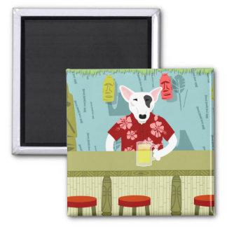 English Bull Terrier Tiki Bar 2 Inch Square Magnet