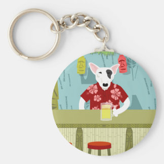 English Bull Terrier Tiki Bar Basic Round Button Keychain