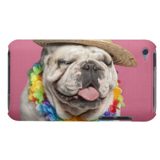 English Bulldog (18 months old) wearing a straw Barely There iPod Case