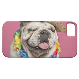 English Bulldog (18 months old) wearing a straw iPhone 5 Covers