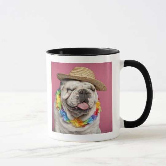 English Bulldog (18 months old) wearing a straw Mug