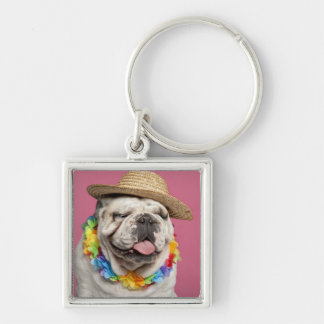 English Bulldog (18 months old) wearing a straw Silver-Colored Square Keychain