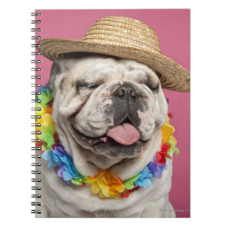 English Bulldog (18 months old) wearing a straw Spiral Notebook