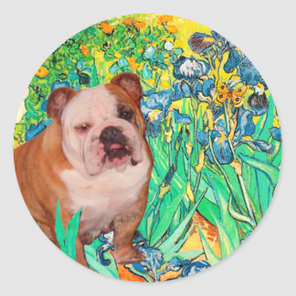 English Bulldog 1 - Irises Round Stickers