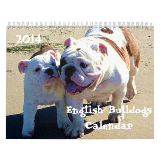 English Bulldog 2014 Custom Printed Calendar