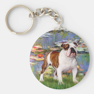 English Bulldog 5 - Lilies Key Chains