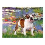 English Bulldog 5 - Lilies Postcard