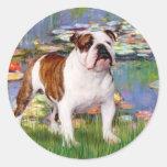 English Bulldog 5 - Lilies Round Stickers