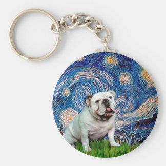 English Bulldog 8 - Starry Night Keychain