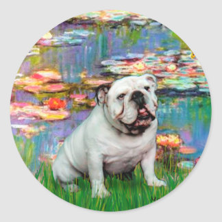 English Bulldog 9 - Lilies 2 Stickers