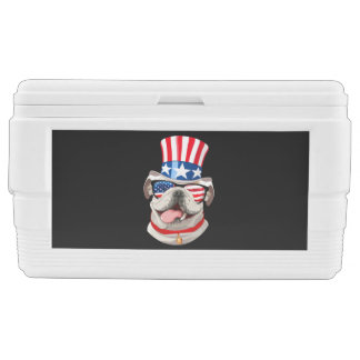 English Bulldog American Flag Hat 4th of July Dog Chest Cooler