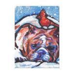 English bulldog and cardinal Pop Art Canvas Print