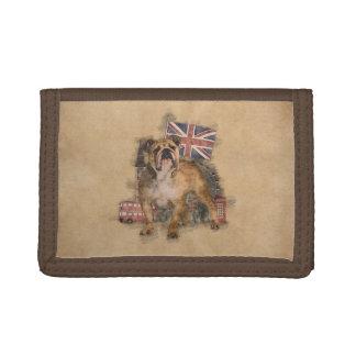 English Bulldog and England sketch Trifold Wallet