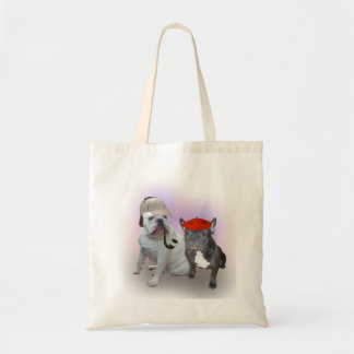English Bulldog and French Bulldog Tote Bags
