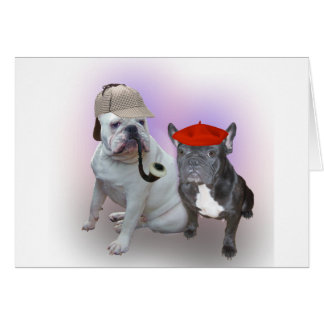 English Bulldog and French Bulldog Card