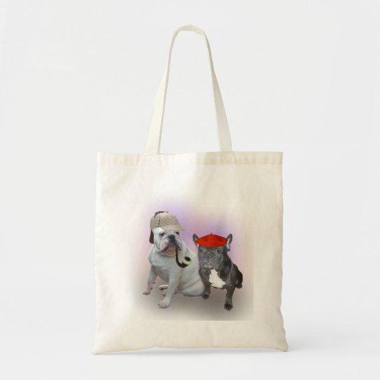 English Bulldog and French Bulldog Tote Bag