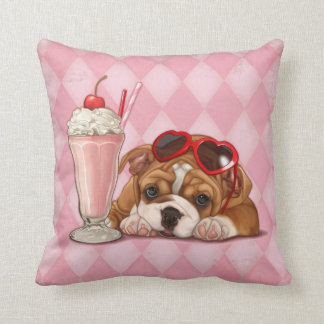 English bulldog and milkshake throw pillow