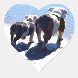 English Bulldog and Puppy Heart Sticker