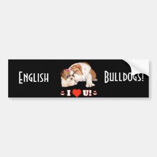 English Bulldog and Shih Tzu I LOVE YOU Car Bumper Sticker