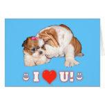 English Bulldog and Shih Tzu I LOVE YOU Cards