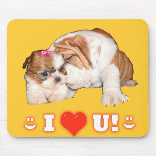 English Bulldog and Shih Tzu I LOVE YOU! Mouse Pad