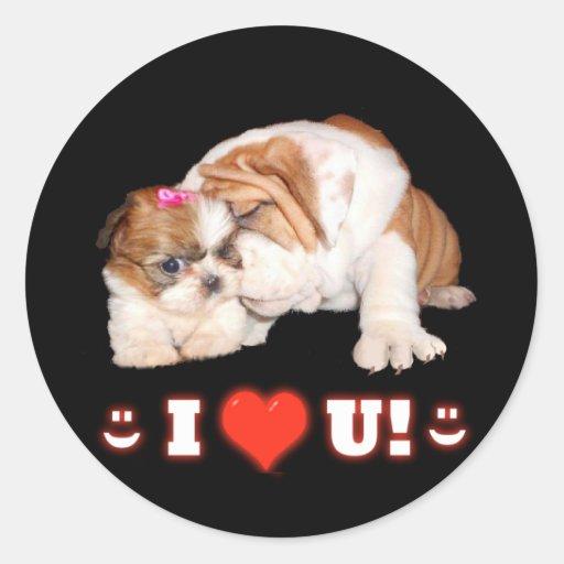 English Bulldog and Shih Tzu I LOVE YOU Sticker
