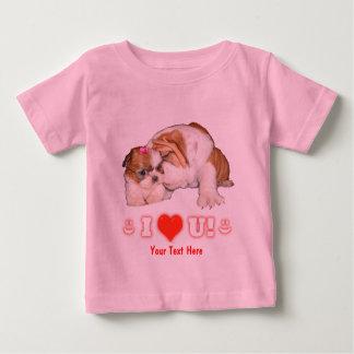 English Bulldog and Shih Tzu Puppy I LOVE YOU! Infant T-shirt