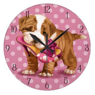 English bulldog and shoe large clock