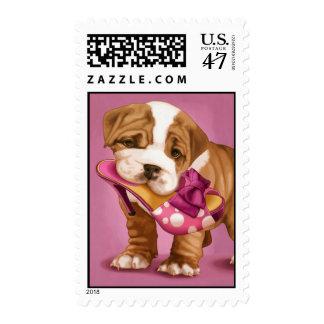 English bulldog and shoe postage