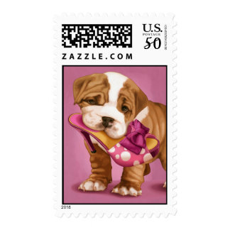 English bulldog and shoe postage
