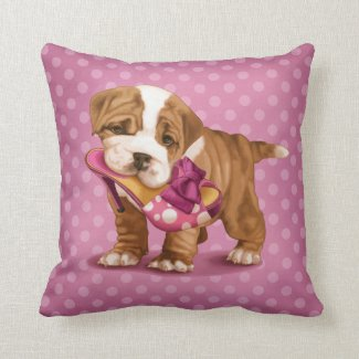 English bulldog and shoe throw pillow